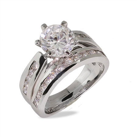 Brilliant Cut Channel Set CZ Engagement Ring Set