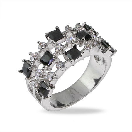Onyx CZ Triple Row Sterling Silver Band | Eve's Addiction®