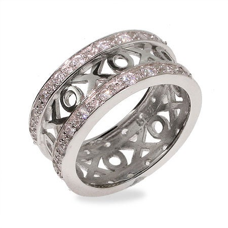 Hugs and Kisses Cubic Zirconia Sterling Silver Ring | Eve's Addiction®
