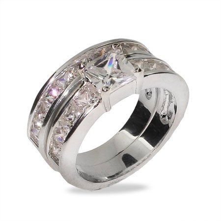 Princess Cut Channel Set Engagement Set in Sterling Silver | Eve's Addiction®