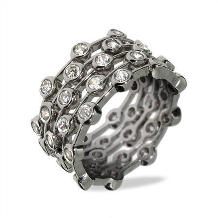 Bezel Set CZ 5 Piece Stackable Ring Set | Eve's Addiction®