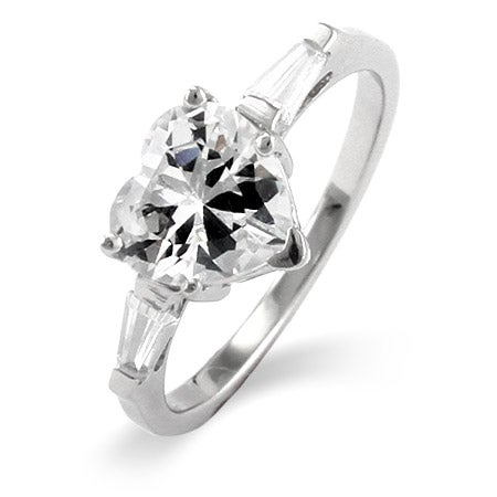 Heart Shaped CZ Sterling Silver Promise Ring | Eve's Addiction®