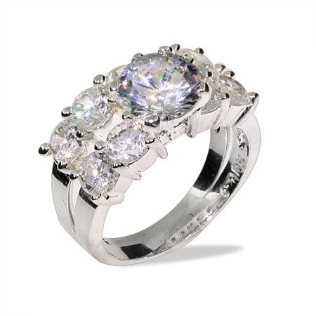 Brilliant Cut Ten Stone Engagement Ring Set | Eve's Addiction®