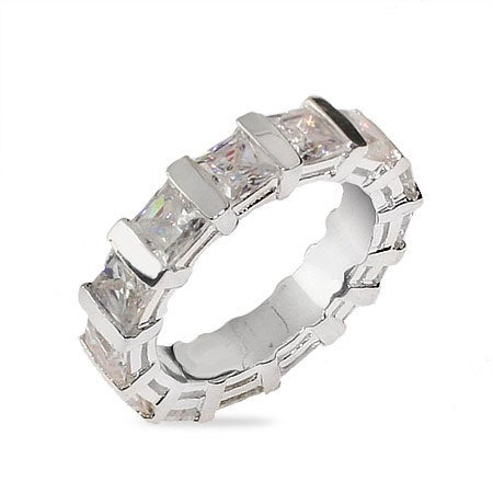 Sterling Silver Eternity Band with Princess Cut CZs | Eve's Addiction®