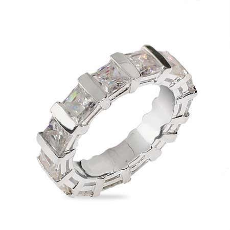 Sterling Silver Eternity Band with Princess Cut CZs