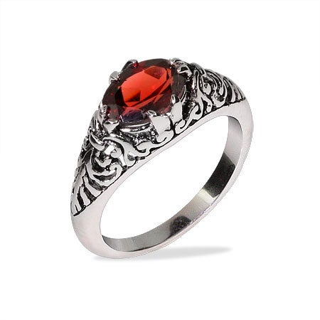 Oval Shape Garnet CZ Bali Ring in Sterling Silver | Eve's Addiction®