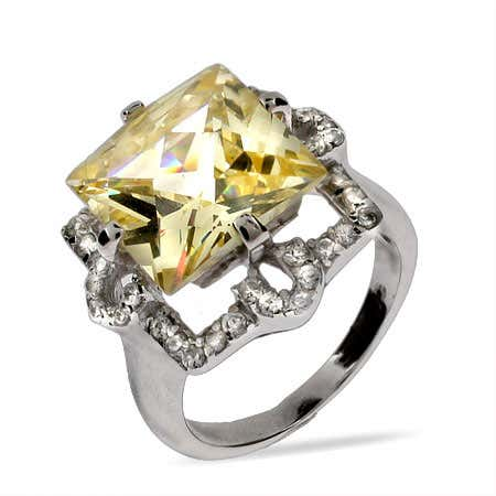 Princess Cut Canary CZ Cocktail Ring | Eve's Addiction®