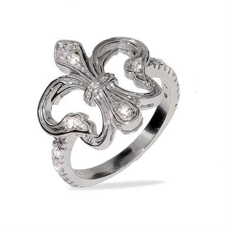 display slide 1 of 1 - Victorian Style Silver & CZ Fleur de Lis Ring - selected slide
