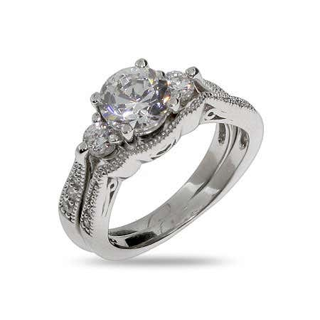 Brillant Cut CZ Three Stone Bridal Ring Set