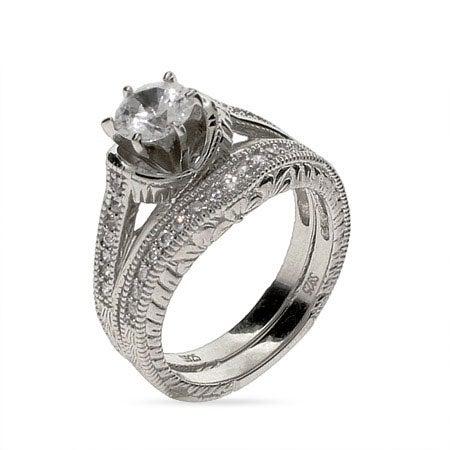 Vintage 6 mm CZ Wedding Ring Set in Sterling Silver | Eve's Addiction®