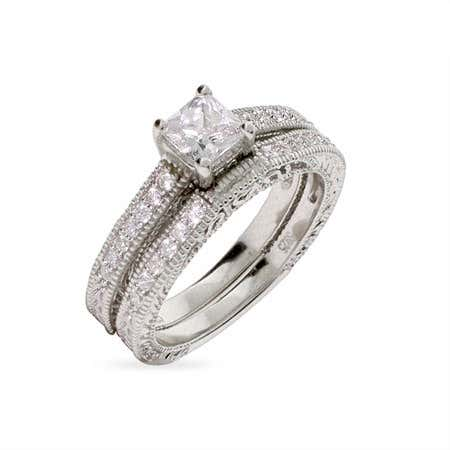 Vintage inspired cz engagement ring, the most popular cz engagement ring style