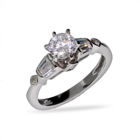 Celebrity Style Brilliant Cut Sterling Silver CZ Engagement Ring | Eve's Addiction®