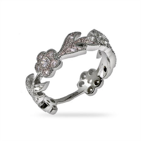 Flowering CZ Vine Sterling Silver Ring   Eve's Addiction®