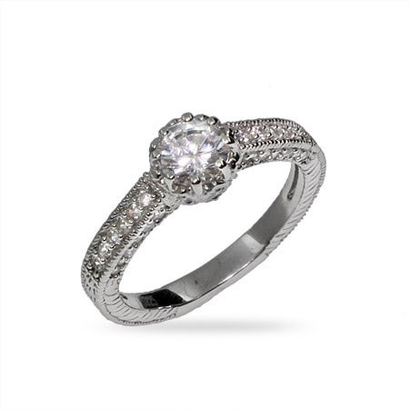 Beautiful Heirloom CZ and Sterling Silver Engagement Ring | Eve's Addiction®