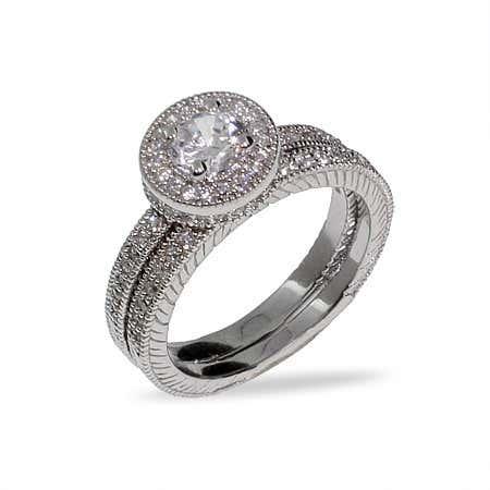 Brilliant Cut Heirloom CZ Wedding Ring Set