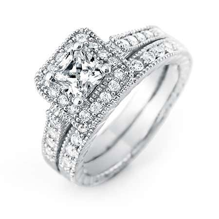 Princess Cut Halo CZ Wedding Ring Set | Eve's Addiction®