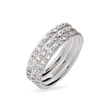 Sterling Silver Triple Stackable DZ Ring Set | Eve's Addiction