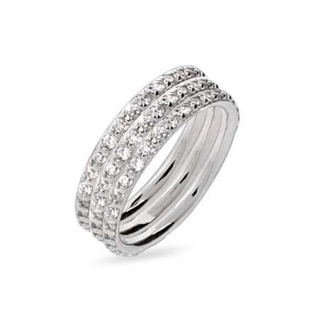 Sterling Silver Triple Stackable DZ Ring Set