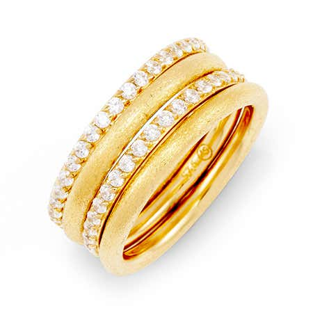 Stackable 4 Ring Set with Gold and CZ Bands | Eve's Addiction®