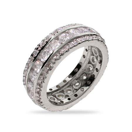 Celebrity Style Three Row CZ Wedding Band
