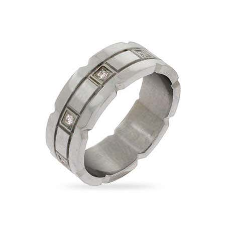 Eight Stone CZ Stainless Steel Wedding Band