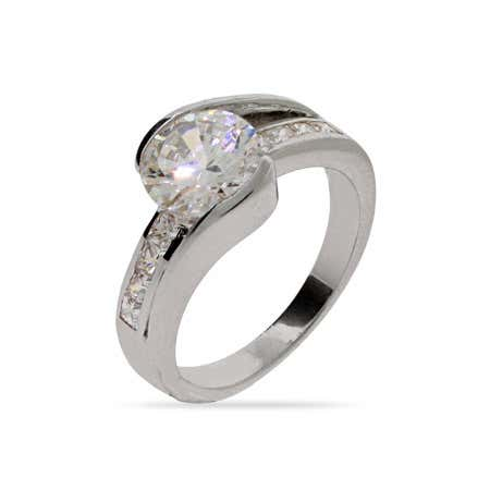Brilliant Cut CZ Engagement Ring with Channel Setting