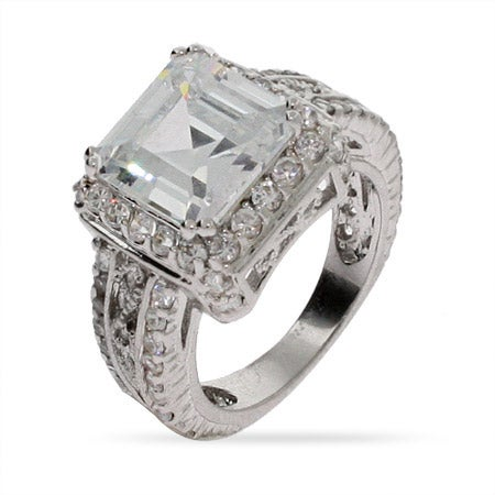4 Carat Asscher Cut CZ Cocktail Ring in Sterling Silver | Eve's Addiction®