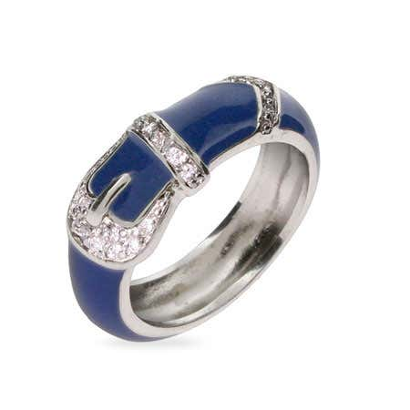 Blue Enamel Belt Buckle Ring