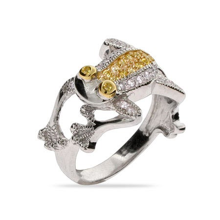 Designer Inspired Canary CZ Frog Cocktail Ring | Eve's Addiction