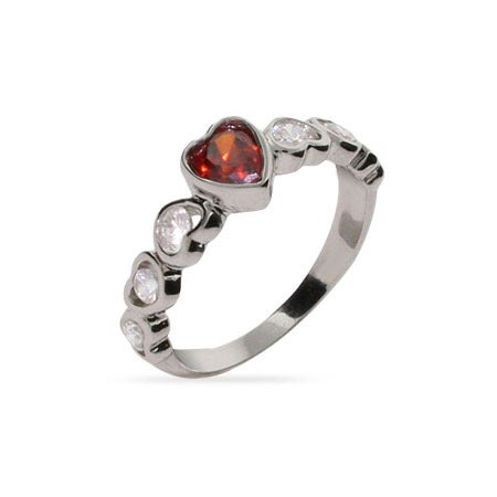 Pretty Red CZ Heart Linked Sterling Silver Ring | Eve's Addiction®