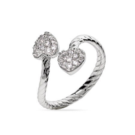 Double Pave Hearts Cable Wrap Ring | Eve's Addiction®