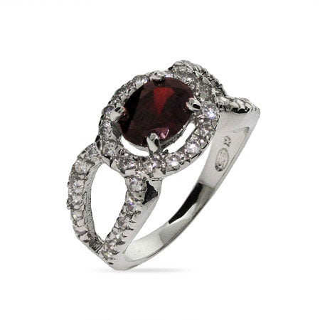 Exquisite Garnet Red CZ Cocktail Ring | Eve's Addiction®