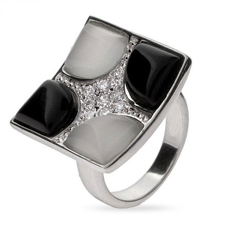 Designer Style Black Onyx and White Mother of Pearl Cocktail ring | Eve's Addiction®