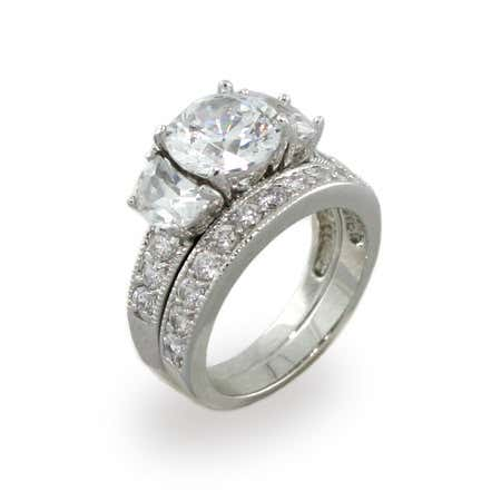 Extraordinary Past Present and Future CZ Wedding Set