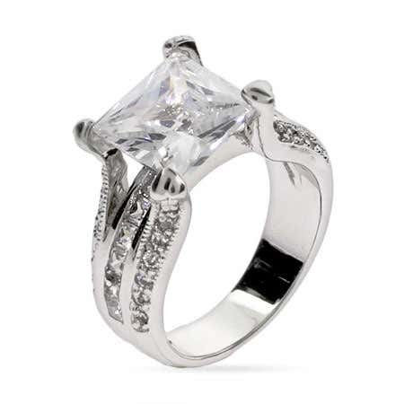 CZ square engagement ring in sterling silver setting from eves addiction jewelry