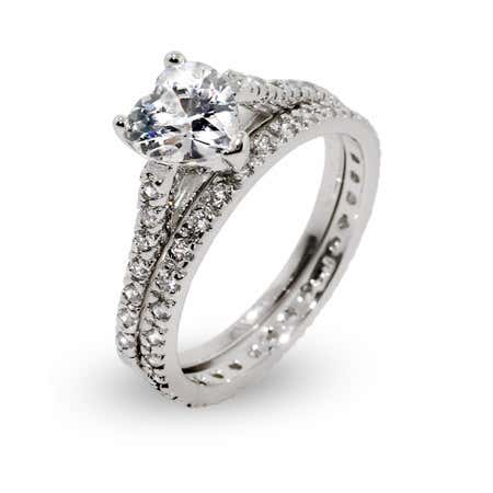 Heart Shaped CZ Engagement Ring Set in Sterling Silver | Eve's Addiction®