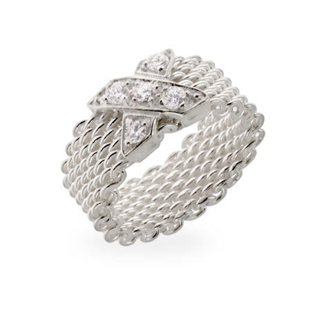 Designer Style Sterling Silver CZ X Mesh Ring | Eve's Addiction®