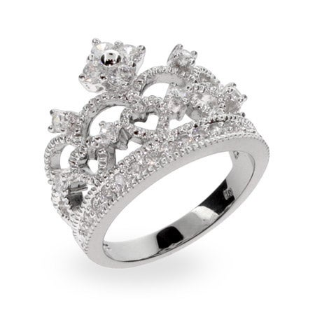 Crown Tiara Sterling Silver & CZ Ring | Eve's Addiction®