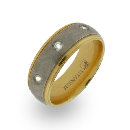 Gold and CZ Titanium Wedding Band | Eve's Addiction®