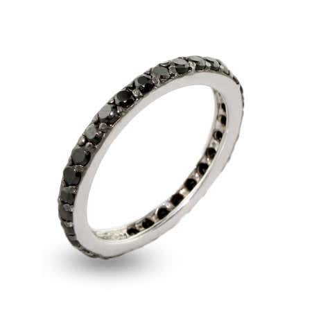 display slide 1 of 2 - Black CZ Stackable Sterling Silver Ring - selected slide