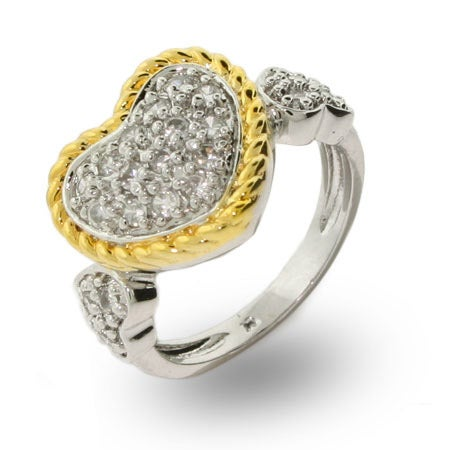 Designer Inspired Gold Cable Pave CZ Heart Ring | Eve's Addiction®