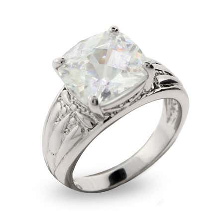 Cushion Cut CZ Engagement Ring with Detailed Band
