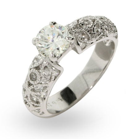 Brilliant Cut Engagement Ring with Vintage Design Band | Eve's Addiction®