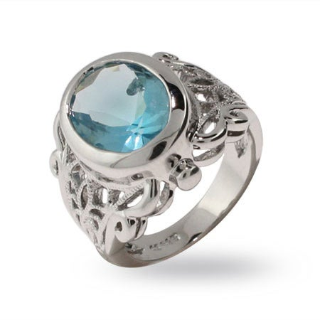 Victorian Style Oval Cut Blue Topaz CZ Ring | Eve's Addiction®