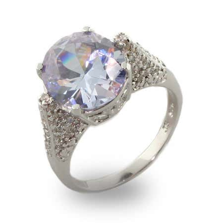 Oval Cut Sparkling Lavender CZ Right Hand Ring