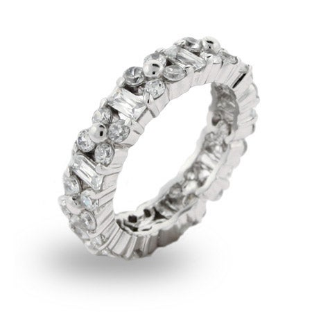 Emerald Cut and Flower CZ Stackable Band | Eve's Addiction®