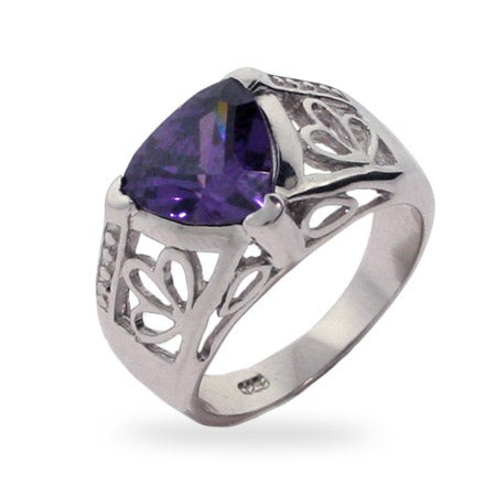 Vintage Style Triangle Cut Amethyst CZ Ring | Eve's Addiction®