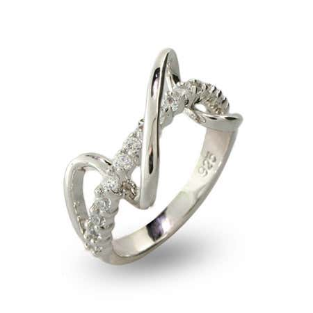 Sterling Silver Weave Ring with Row of CZ | Eve's Addiction®