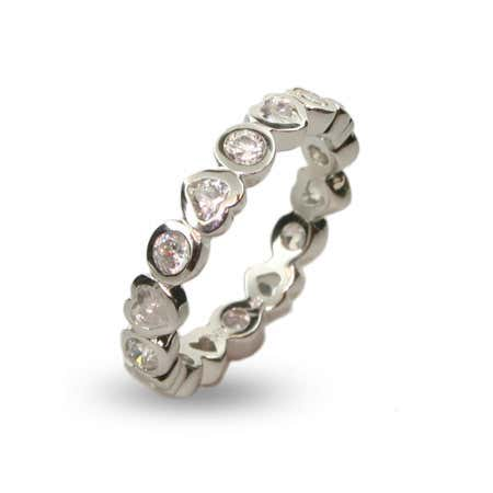 Bezel Hearts CZ Stackable Band