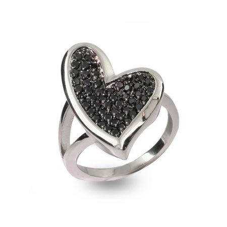Designer Style Abstract Heart Ring with Black Pave CZ | Eve's Addiction®